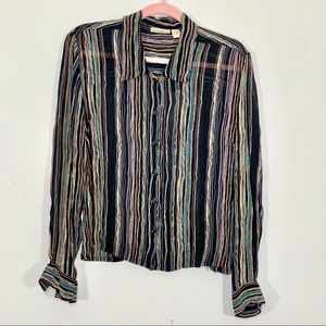 Vintage | Early 90's Striped Sheer Black Blouse
